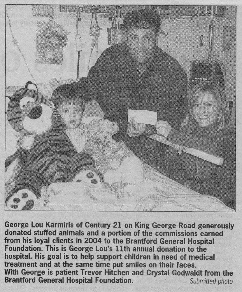 George Lou donates toys to children at the Brantford General Hospital